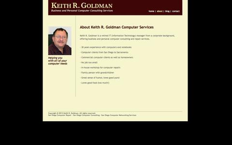 Screenshot of About Page keithgoldman.com - About San Diego Computer Repair Services from Keith Goldman - captured Oct. 1, 2014