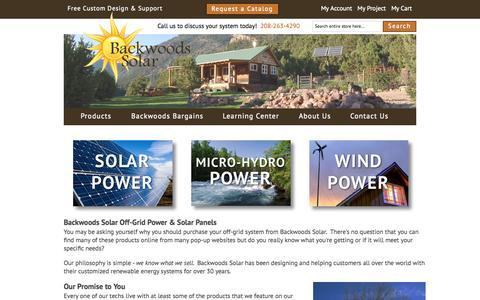 Screenshot of Home Page backwoodssolar.com - Backwoods Solar | Solar Panels | Micro-Hydro | Off-Grid Power - captured Oct. 1, 2015