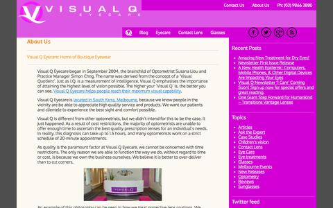 Screenshot of About Page visualq.com.au - About Us - Visual Q Eyecare - captured Oct. 26, 2014