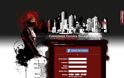 Screenshot of Signup Page webs.com - Signup - Comickaze Comics Books and More - captured Sept. 13, 2014