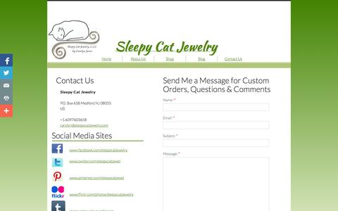 Screenshot of Privacy Page Contact Page sleepycatjewelry.com - Contact Us - captured Oct. 26, 2014