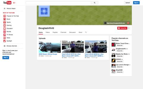 Screenshot of YouTube Page youtube.com - DouglasInfiniti  - YouTube - captured Oct. 23, 2014