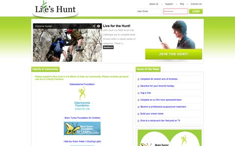 Screenshot of Support Page lifeshunt.com - Life's Hunt :: Charity & Community - captured Oct. 2, 2014