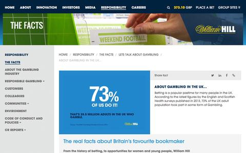 Screenshot of williamhillplc.com - William Hill PLC: About gambling in the UK...                 - Lets talk about gambling                 - The Facts                 - Responsibility - captured March 19, 2016