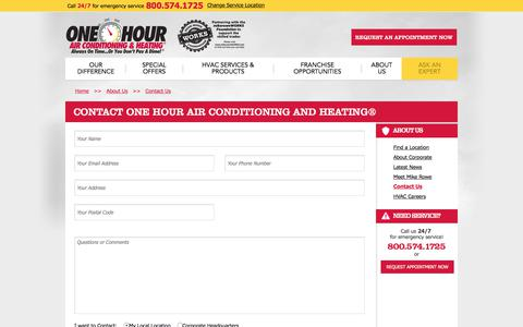 Screenshot of Contact Page onehourheatandair.com - Contact One Hour Heating and Air Conditioning® - captured June 26, 2017