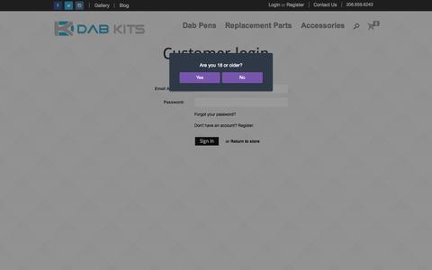 Screenshot of Login Page dabkits.com - Account | Best Portable Wax Vaporizer and Vape Pens at Dab Kits - captured Sept. 30, 2014