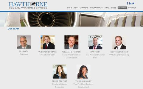 Screenshot of Team Page hawthorne.aero - Firm Professionals, Hawthorne Corporation, Airport, FBO Management, Consulting, Investment - captured July 23, 2017