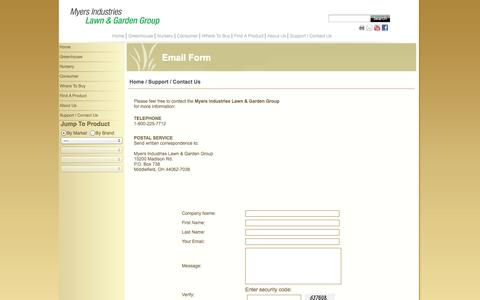Screenshot of Contact Page myerslawnandgarden.com - Myers Lawn & Garden - Support / Contact Us - captured Oct. 7, 2014