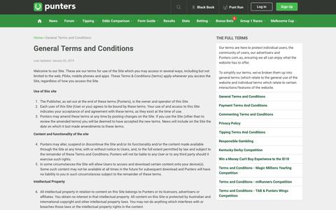 Screenshot of Terms Page punters.com.au - General Terms and Conditions - captured Oct. 28, 2019