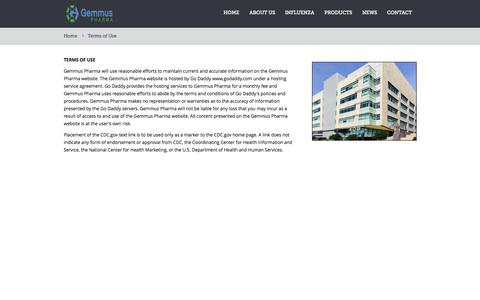 Screenshot of Terms Page gemmuspharma.com - Terms of Use - captured Sept. 16, 2014