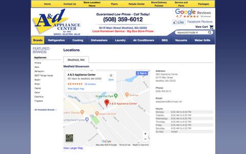 Screenshot of Contact Page Locations Page adappliancecenter.com - Contact A&D Appliance Center in Massachusetts - captured July 7, 2018