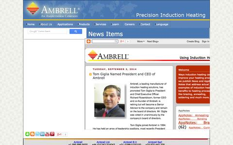 Screenshot of Press Page ambrell.com - Index of Ambrell News Items - captured Sept. 19, 2014