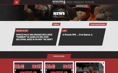 Screenshot of Press Page mayweatherpromotions.com - News – Mayweather Promotions - captured Sept. 20, 2018