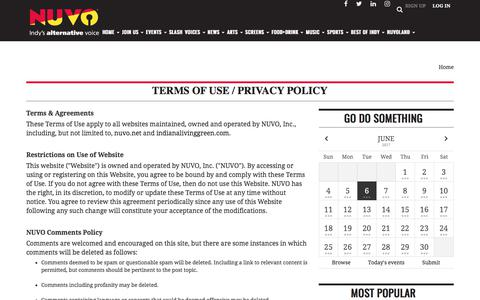 Screenshot of Terms Page nuvo.net - Terms of Use / Privacy Policy | Site | nuvo.net - captured June 7, 2017