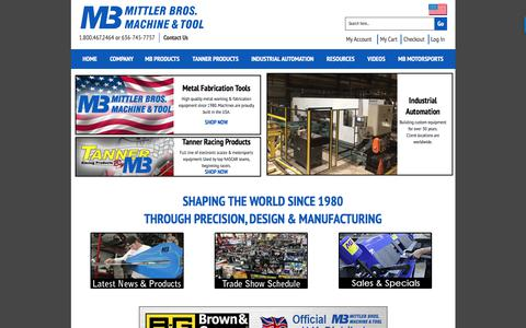 Screenshot of Home Page mittlerbros.com - Metal Working Tools & Metal Fabrication Equipment by Mittler Bros. - captured Oct. 20, 2017