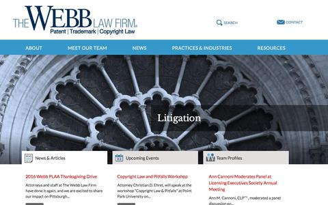 Screenshot of Home Page webblaw.com - The Webb Law Firm | Patents, Trademarks, Copyrights Law - captured Dec. 2, 2016