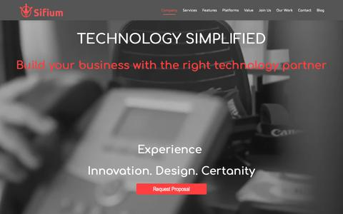 Screenshot of Home Page sifium.co - Sifium | Technology Consulting for Startups - captured Oct. 18, 2018