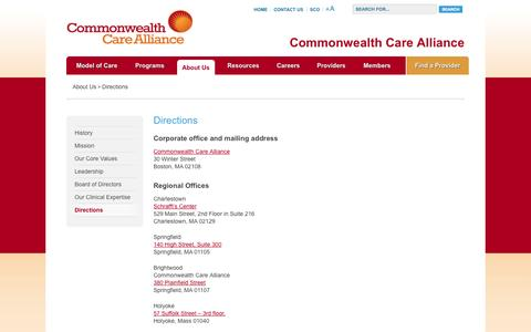 Screenshot of Maps & Directions Page commonwealthcarealliance.org - Directions | Commonwealth Care Alliance - captured Sept. 30, 2014