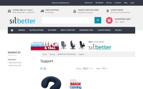 Screenshot of Support Page sitbetter.com - Support - WORKPLACE ACCESSORIES - Seating - captured Oct. 30, 2017