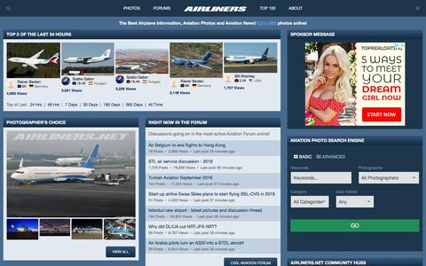 Screenshot of Home Page airliners.net - Airliners.net | Aviation Photography, Discussion Forums & News - captured Sept. 21, 2018