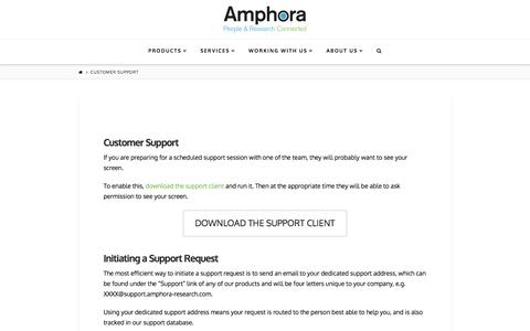 Screenshot of Support Page amphora-research.com - Customer Support | Amphora Research Systems - captured Feb. 6, 2016