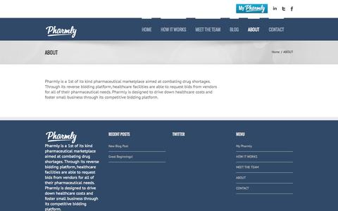 Screenshot of About Page pharmly.com - Pharmly   –  ABOUT - captured June 16, 2015