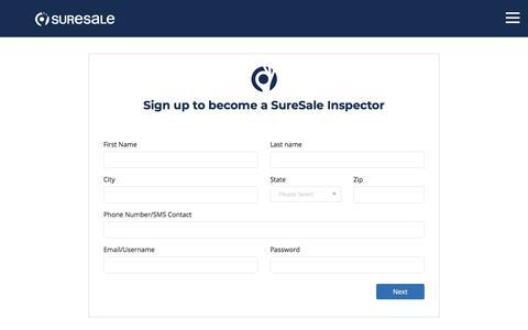 Screenshot of Signup Page suresale.com - suresale - captured Sept. 21, 2018