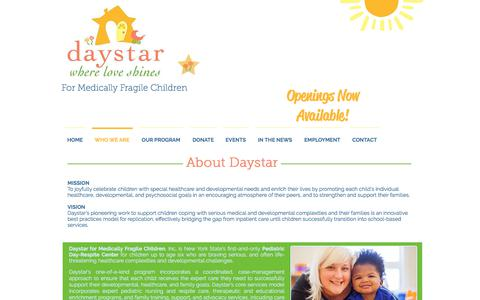 Screenshot of About Page daystarkids.org - Daystar Kids - Where Love Shines | WHO WE ARE - captured Oct. 12, 2017
