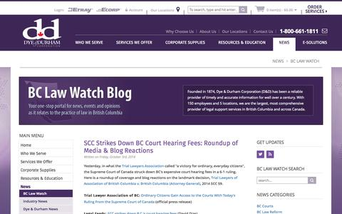 Screenshot of Press Page dyedurhambc.com - BC Law Watch | Dye & Durham - Search, Filing and Registry Services - captured Oct. 5, 2014
