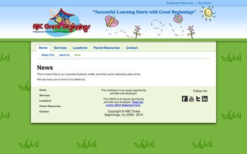 Screenshot of Press Page abcgreatbeginnings.com - ABC Great Beginnings - captured Sept. 30, 2014