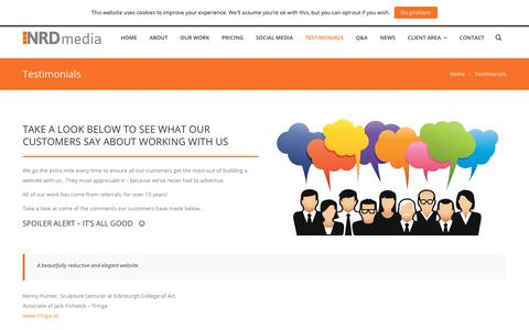 Screenshot of Testimonials Page nrdmedia.co.uk - Testimonials - NRD Media website design in Buckshaw Village, Chorley, Lancashire. - captured July 4, 2018
