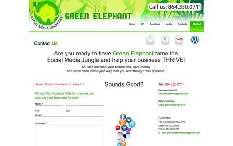 Screenshot of Contact Page greenelephantsocialmediamarketing.com - Contact - Social Media Marketing Greenville SC - captured Sept. 30, 2014