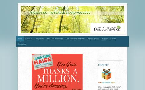 Screenshot of Home Page capitalregionland.org - Home - Capital Region Land Conservancy - captured Oct. 1, 2014