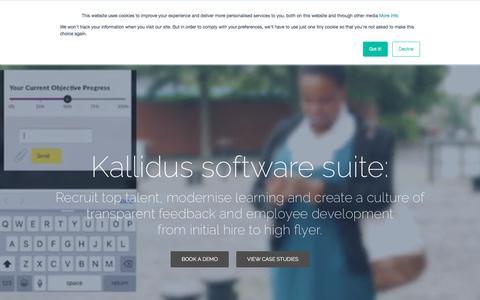 Screenshot of Home Page kallidus.com - Home page | Kallidus - captured Sept. 20, 2018
