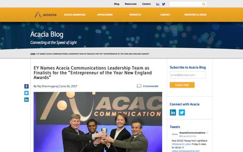 "EY Names Acacia Communications Leadership Team as Finalists for the ""Entrepreneur of the Year New England Awards"" - Acacia Communications"