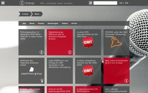 Screenshot of Press Page d-velop.de - News und Events von d.velop - captured Oct. 5, 2014