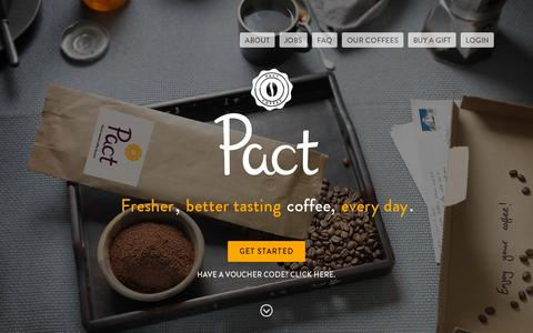 Screenshot of Home Page pactcoffee.com - Pact | Delivering fresh, better tasting coffee - captured July 11, 2014