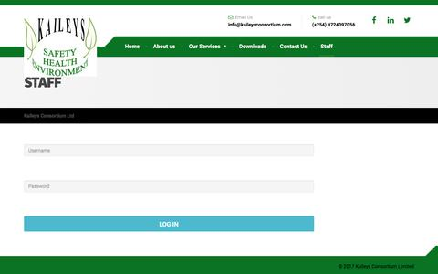 Screenshot of Login Page kaileysconsortium.com - Staff – Kaileys Consortium Ltd - captured Oct. 16, 2017