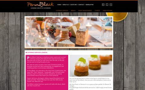 Screenshot of Services Page penniblack.co.uk - Catering Services London : PenniBlack - captured Jan. 26, 2016