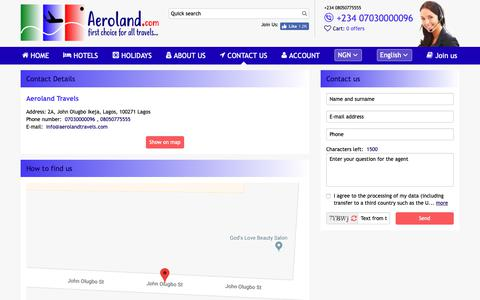 Screenshot of Contact Page aerolandtravels.com captured Oct. 3, 2018