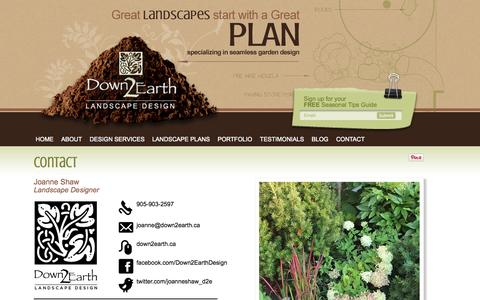 Screenshot of Contact Page down2earth.ca - Contact Down 2 Earth, landscape design Pickering, landscaping designs Down 2 Earth - captured Oct. 5, 2014