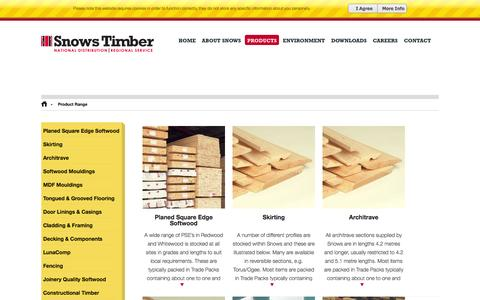 Screenshot of Products Page snowstimber.com - Product Range - Snows Timber - captured Oct. 1, 2014