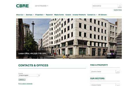 Screenshot of Contact Page cbre.co.uk - CBRE: UK - Contacts & Offices - captured Aug. 25, 2016