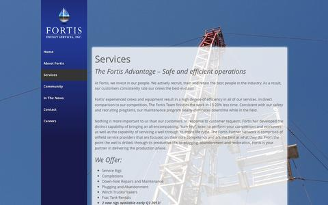 Screenshot of Services Page fortisenergyservices.com - Services | Fortis Energy Services, Inc. - captured Oct. 6, 2014