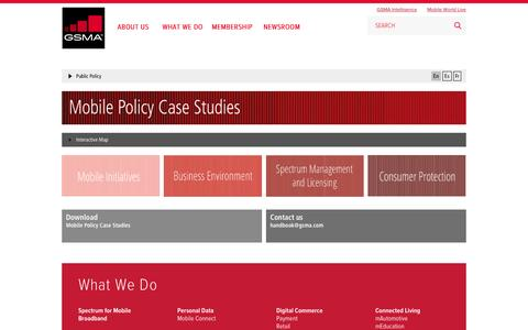 Screenshot of Case Studies Page gsma.com - GSMA | Mobile Policy Case Studies | Public Policy - captured Dec. 6, 2015