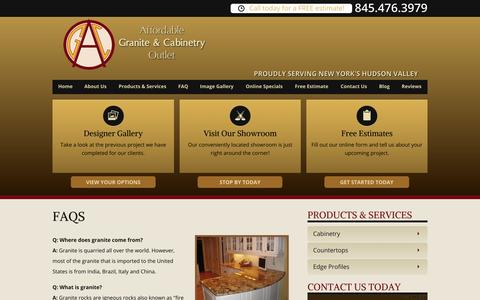 Screenshot of FAQ Page graniteshopny.com - FAQ - Affordable Granite & Cabinetry Outlet - captured Nov. 1, 2014