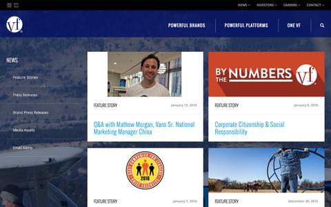 Screenshot of Press Page vfc.com - News :: VF Corporation (VFC) - captured Jan. 14, 2016