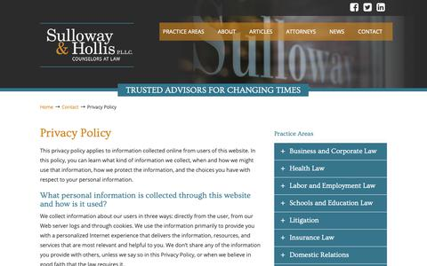 Screenshot of Privacy Page sulloway.com - Privacy Policy | Sulloway and Hollis P.L.L.C - captured Oct. 19, 2018