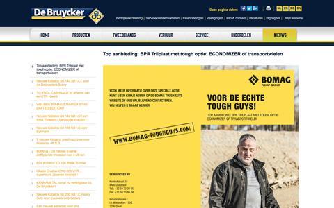 Screenshot of Press Page debruycker.be - De Bruycker – Bomag – Kobelco – wals – graafmachine – verhuur – tweedehands - België - captured Aug. 1, 2016