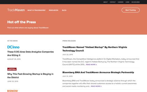 Screenshot of Press Page trackmaven.com - Press Releases Archive Đ TrackMaven - captured Nov. 20, 2015